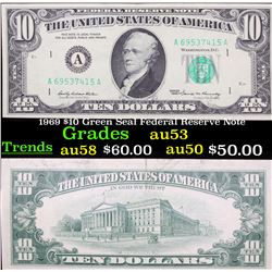1969 $10 Green Seal Federal Reserve Note Grades Select AU