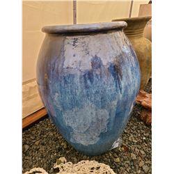 Large Blue Ceramic Pot Cat B