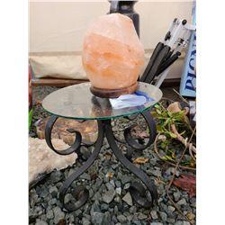 Glass top table & Himalayan Salt Crystal B