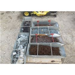 "6 Metal Containers Full of Nails, 2"" to 4"" - 1 Is Insulation Nails"