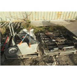 Tow Bar, 2 Receiver Hitches, Snowmobile Lift, & Wheel Barrel Tire
