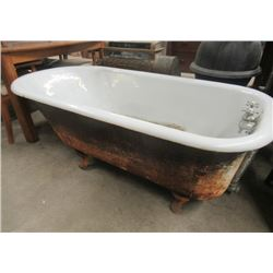 "Vintage Cast Bath Tub we Faucets, & Legs- Enamel is in Good Condition- Needs Cleaning 23""H 60""L 30""W"