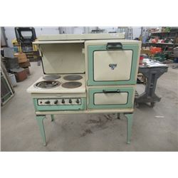 "Vintage Early Elec Stove - Northern Electric Gurney Oven , Stove Top & Oven - Gorgeous Colors 50"" h"