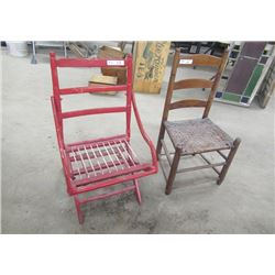 Vintage Unique Folding Chair & Ladder Back Chair w Woven Seat