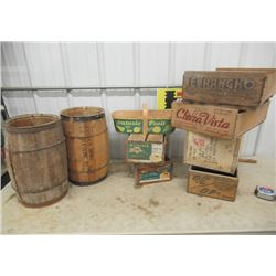 9 Vintage Items - 2) Nail Kegs -1 Is labelled, & 7 Fruit Crates