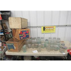 28 Sealers, 3 Fruit Crates, Many are Old & Rare, Gem, Ball, Kerr, Mid West, Drey , Jewell Plus More!
