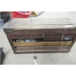 "Old Carpenter Box w Many Time Period Tools 19""H 34""W 15"" D"