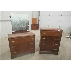 "2 Matching Dressers w Bakelight Handles 44""H 38""W 18""D. & 36""H 37""W 18""D plus 30"" x 24"" Mirror"