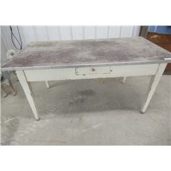 """Vintage Painted Table w Drawer 30""""H 60""""W 34""""D"""
