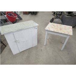 """Painted Cabinet 29""""H 31'W 14.5""""D & Painted Stand 25""""H 24""""W 18"""" D - Vintage"""