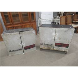 "2 Vintage Motorcraft Metal Cabinets Bottom 34"" x 34"" x 16"" Top 30""x 34"" x 16"" w Product"