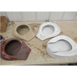 4 Bed Pans - 2 Enamel & 2 Crockery