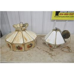 2 Vintage Stained Glass Light Fixtures
