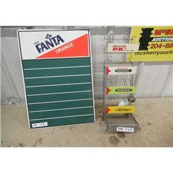 "Vintage Fanta Menu Board 24""H 16""W & Store Gum Rack Shelf"