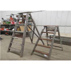 2 Vintage Wood Step Ladders