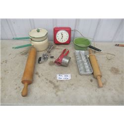 Vintage Household Items - Enamelware, Retro Red Clock  & Ktichen Utensils