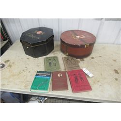 Vintage Items - 2 Hat Boxes & Old Books