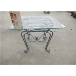 "Wrought Iron Glass Top End Table 22""H 26""W 26"""