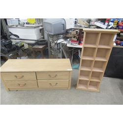 "4 Drawer Windoe Dresser  22""H 50""W 18"" D & What Not Shelf 49""H 19""W 6""D- Both Are Modern"