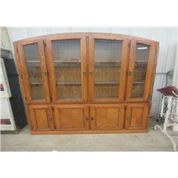 """Oak China Cabinet  81""""H x 54"""" w Table  66"""" x 42 """" & 6 Chairs & 18"""" Leaf"""