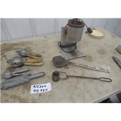 Elec Lead Melting Pot, 2 Laddles, Handled Fishing Weight Mould,  & 3 Sizes Cannon Ball Moulds
