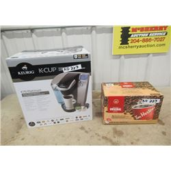 Keurig inBox , Machine is in Box but used & K Cups