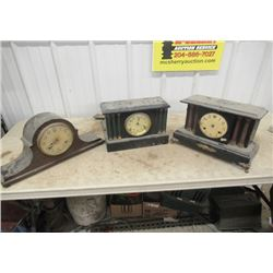 3 Vintage Mantle Clocks, One On Right Is Missing Parts