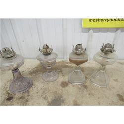 4 Vintage Coal Oil Lamps