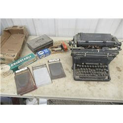 Vintage Underwood Typewriter, Hole Punch In Orignal Box , &  Ink Pads