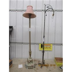 2 Floor Lamps 1) Brass, 1) Wrought Iton Bridge