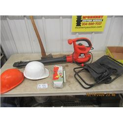 B &D Yard Blower, Axe , Folding Stool Humming Bird Feeder & Safety Helmet