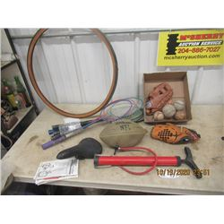 Bicycle Tire, Tire Pump, Bike Seat, Sports Items, Baseball Gloves, Football  Plus!