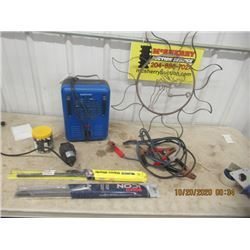 Mastercraft Elec Heater, Booster Cables, Wipers & Metal Yard Decor