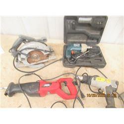 4 Items - Skil Reciprocating Saw, Circ Saw, Drill & Fat Max Heat Gun