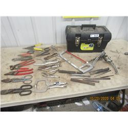 Vice Grips, Pliers, Tin Snips, Hack Saw Chisels, Punches Gear Pullers, & Tool Box