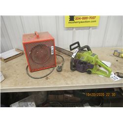 Construction Heater & Poulan Chain Saw