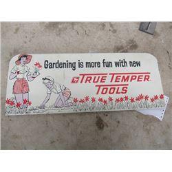 (MT) Vintage Metal True Temper Tool Sign 8.5  x 22