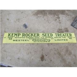 Vintage Metal Kemp Rocker Seed Treeter Sign 3/5  x 23.5