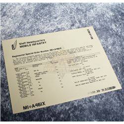 "Starship Troopers – Prop ""Regimental Special Order"" Document – A850"