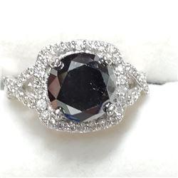 14K BLACK DIAMOND (3.4CT) & DIAMOND (0.4CT) RING