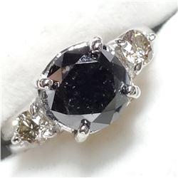 10K BLACK DIAMOND (2.4CT) & DIAMOND(0.39CT) RING