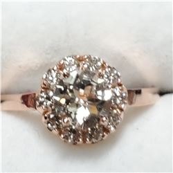 14K MORGANITE (1.1CT) & DIAMOND (0.35CT) RING
