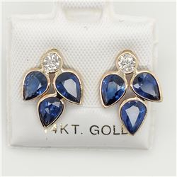 14K SAPPHIRE (2.5CT) DIAMOND(0.25CT) EARRINGS