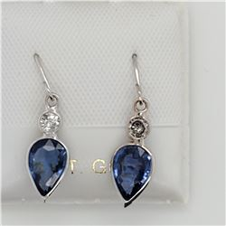 14K SAPPHIRE(1.65CT) & DIAMOND (0.17CT) EARRINGS