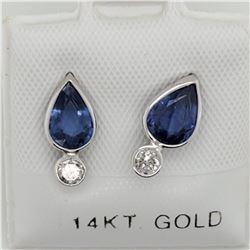 14K SAPPHIRE(1.8CT) & DIAMOND (0.17CT) EARRINGS