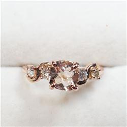10K MORGANITE (1CT) & DIAMOND (0.2CT) RING