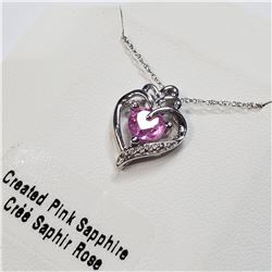 """SILVER CREATED PINK SAPPHIRE 20"""" NECKLACE"""