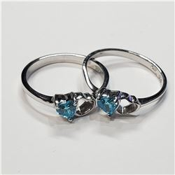 SILVER LOT OF 2 BLUE TOPAZ RING