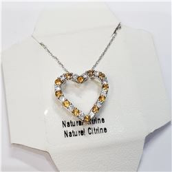 """SILVER NATURAL CITRINE 20"""" NECKLACE"""