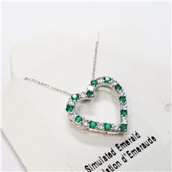 """SILVER CREATED EMERALD 20"""" NECKLACE"""